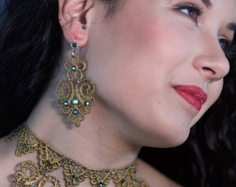 gold lace jewelry and swarovski, elegant earrings, silver earrings, gift for women, lace earrings, handmade, gift ideas, made in Italy,