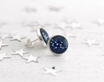 Zodiac Studs, Stud Earrings, Constellation Studs, Zodiac Earrings, Everyday Earrings, Astronomy, Zodiac Jewelry, Zodiac Sign Jewelry