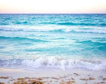 Beach Print, Ocean Print, Beach Photography, Surf Art, Sunset Print, Living Decor, Turquoise Art, Waves Art, Surfer Art, Surfer Decor
