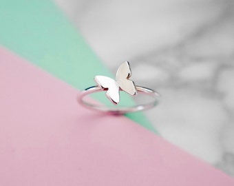 Sterling Silver Butterfly Stacking Ring
