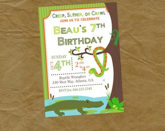 REPTILE  Birthday Party Invitation Frog Snake Alligator Crocodile Lizard - Digital or Printed