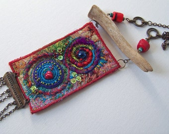 This bohemian jewelry is embroidered tapestry fabric in gorgeous colors. !!!