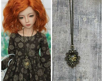 Necklace with gears for BJD MSD doll 1/4 size and for Blythe, Monster High and Azone dolls 1/6 size