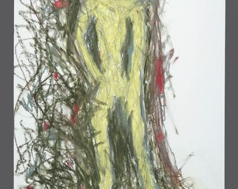 1990s Dennis Jose Chicago Artist Abstract Drawing Crayons Pastel Paper 17.5 x 23