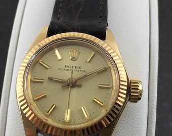 Estate Ladies Rolex Oyster Perpetual 14K Yellow Gold Leather Strap Watch