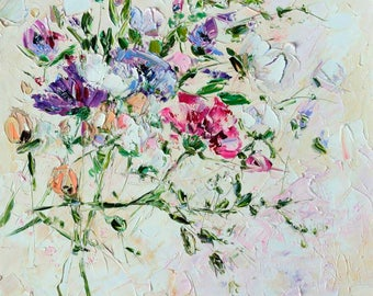 Flower Oil Painting Canvas Oil Painting Abstract Flower Oil Painting Pastel Delicat Purple Pink Painting Wall Art Impasto Purple Flower
