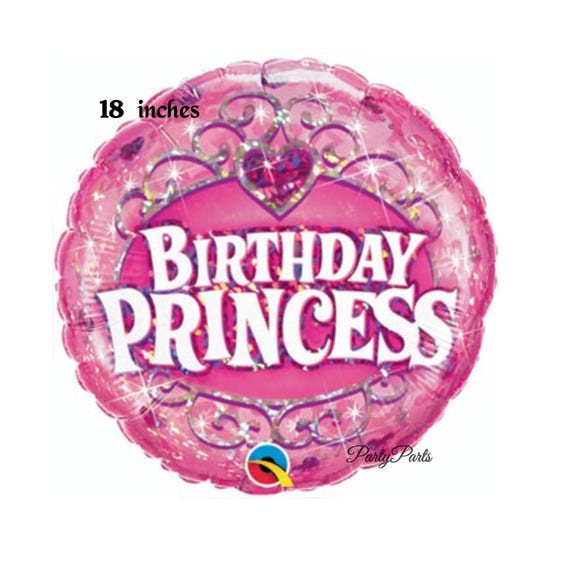 Birthday Princess Balloon Pink Crown Gems 18 Inch Party Decorations Girls Babys First 1st 2nd Toddlers Parties Ideas