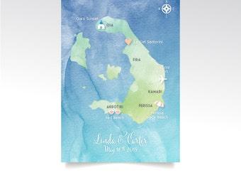 Level 3 Map . Santorini Greece Map 5 x 7in Card . Custom Wedding Watercolor & Directions . Calligraphy Destination Beach Island . PRINTED