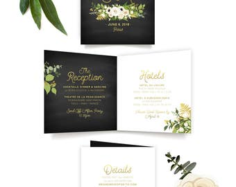 The JALYA . Wedding Monogram Initials Logo Details Folded Card . Gold Black & White Rose Poppy Eucalyptus Gold Calligraphy Leaf Garland Fern