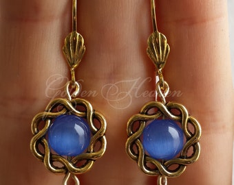 Cute Blue Cat's Eye Earrings Round Dangle Gold Plated Leverbacks Beautiful Jewelry