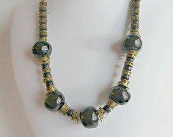 Black and Gold Necklace Vintage Brass Findings