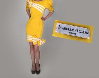 Isabelle Allard designer vintage 80s party dress women small/fitted midi cocktail wiggle yellow 80s prom dress/80s dress/puffy short sleeve