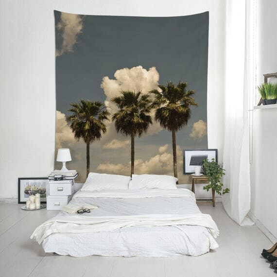 Palm Trees Tapestry, Tropical Wall Decor, Mediterranean Tree, Wall Tapestries, 3 Palm Trees, Dorm Hanging, Tropical Tapestry