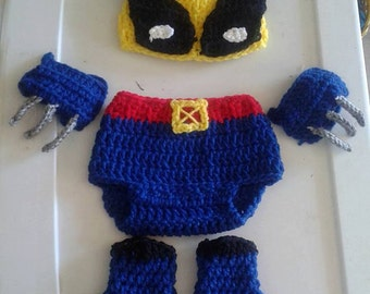 Crochet baby wolverine inspired by. baby costume. newborn photo prop