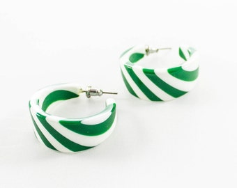 Vintage White Green Lucite Hoop Stud Earrings
