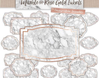 Digital Label Clipart - MARBLE & ROSE GOLD - Clipart Labels, Clipart Frames, Digital Frames, Marble, Rose Gold Clipart, Printable Labels