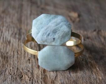 Aquamarine Stone Wire Wrapped Adjustable Cuff