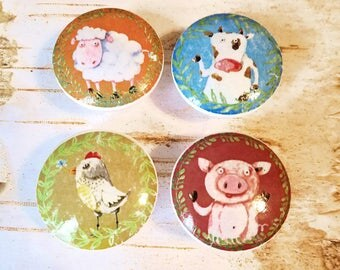 Farm Animal Knobs, Set of 4 Whimsical Farm Drawer Pulls, Pig, Chicken, Sheep, Cow, Country Cabinet Knobs, Made To Order