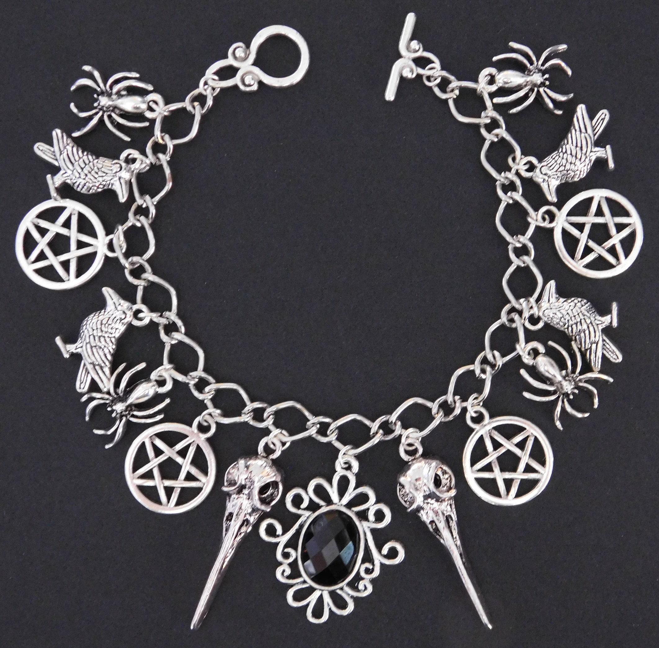 Raven Skull Bird Pentagram Spider Charm Bracelet Gothic