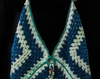 Handmade crochet handbag, crochet granny square shoulder shoulder bag, Women handbag.
