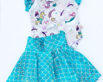 Leotard with Mermaid Print Skirt in Sizes 6 Months to 5T