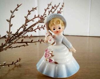 Vintage Enesco Imports Japan Bloomer Figurine, Enesco Vintage Shabby Chic Figurine