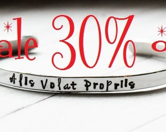 """Sale 30% off Alis Volat Propriis - SALE - She flies with her own wings Super Skinny 4.5mm 3/16"""" Stacking Bracelet -  Graduation Gift"""