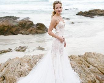 Open back wedding dress, lace bridal dress, tulle wedding dress, beach wedding dress fit and flare wedding dress for destination wedding