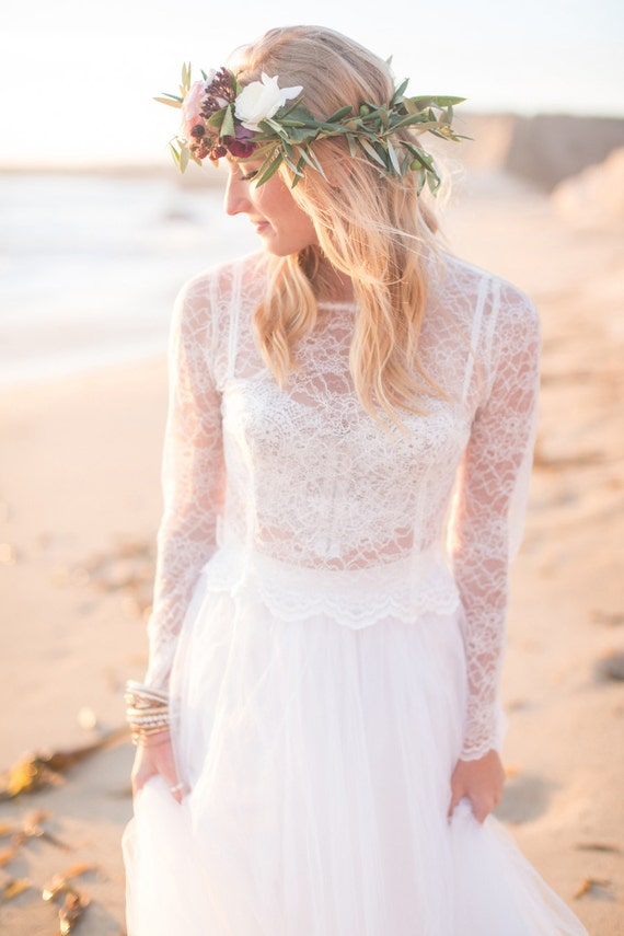 Bridal long sleeve lace top for brides and bridesmaids for beach weddings, garden weddings, rehearsal dinners, & parties 4 colors avail