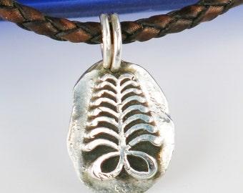 African Adinkra AKAN Aya Fine Silver Pendant - Endurance Overcoming Hardship - Akan Symbol AYA Fern Silver Pendant/Endurance/Resourcefulness