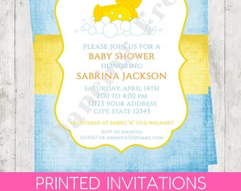 """Custom Printed 4.25X5.5"""" Rubber Duck, Rubber Duckie, Ducky Baby Shower Invitations, envelopes included"""