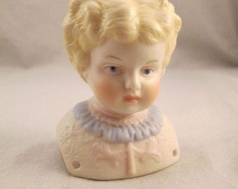 Vintage Porcelain Bisque Reproduction China Doll Head