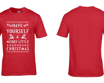 Have Yourself a Merry Little Christmas Mens T-Shirt Retro Christmas Party NEW