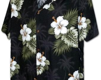 Hibiscus Palm Trees Black Pacific Legend Hawaiian Aloha Shirt 410-2798
