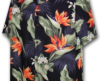 Bird of Paradise Black Pacific Legend Hawaiian Aloha Shirt 410-3470