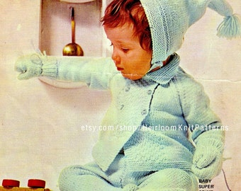 Knit Baby Coat Pullups Bonnet Mittens Knitting Pattern Knitted Baby Set Vintage DK Knitting Pattern Instant download PDF Pattern - 2085