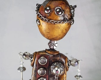 Mixed Media Polymer Clay Steampunk Robot
