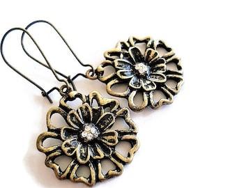 Flower Earrings Boho Jewelry Long Earrings Floral Jewelry Gypsy Earrings Woodland Jewelry Brass Earrings Rustic Jewelry Statement Earrings