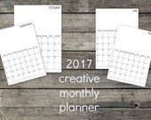 Creative monthly planner 2017. Week starting on Monday. Week starting on Sunday. Printable monthly planner for 2017. Creative planner.