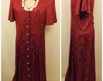 80s Miss Dorby Red Brocade Evening Dress Size 14