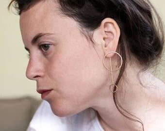 Geometric gold earrings,  Ear jackets, Gold Circle  earring, Open circle earrings, Circle Stud Earrings, Long earrings, Statement earrings,