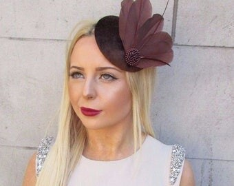 Chocolate Brown Velvet Feather Fascinator Vintage Hair Clip Hat 1940s Races 2463