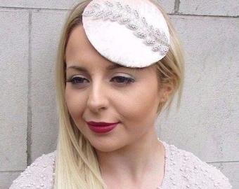 Blush Light Pink Silver Velvet Pillbox Hat Fascinator Hair Races Clip Vtg 2652