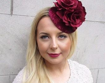Burgundy Wine Red Velvet Fascinator Hat Hair Clip Vtg Races Rockabilly 50s 2718