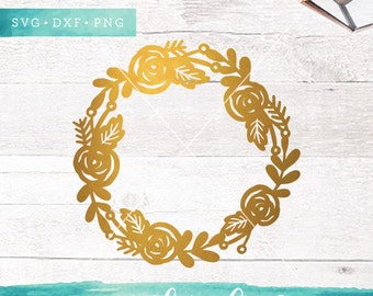 Floral Wreath Svg Cutting Files / Flower Circle Monogram SVG DXF PNG Files / Svg for Cricut Silhouette / Commercial Use ok