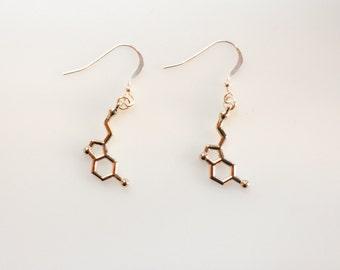 Serotonin Dopamine Silver Earrings, Serotonin Earrings, Dopamine Earrings, Sterling Silver Earrings, Molecule Earrings, Science Jewelry