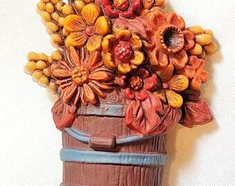 Vintage Hallmark bucket of flowers brooch