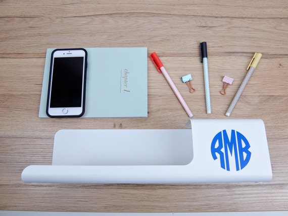 Metal white modern monogram personalized desk office organizer - Desk organizer white ...