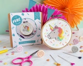 Cross stitch kit, unicorn, galentines day, unicorn decor, counted cross stitch, gifts for her, craft kit, easy DIY kit, modern cross stitch