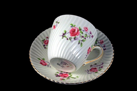 Teacup and Saucer, Victoria, C & E,  Cartwright and Edwards, Fine Bone China, Rose Floral, Made in England, Gold Trimmed